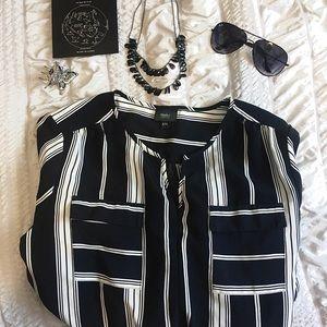 Mossimo XXL Black White Striped Summer Midi Dress